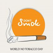 Stylish sticker, tag or label design for World No Tobacco Day with don't smoke text and burning cigarette.