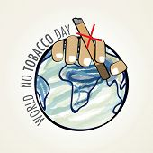 World No Tobacco Day poster, banner or flyer design with human hand holding cigarette on mother eart