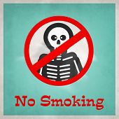 Poster, banner or flyer design for World No Tobacco Day with stylish text No Smoking and skeleton on