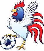 Cool rooster posing and stepping a soccer ball