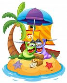 Illustration of an island with two pirate monsters on a white background