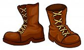 Illustration of a pair of brown boots on a white background