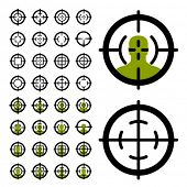 foto of guns  - vector gun crosshair sight symbols - JPG