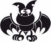 Black bat posing and smiling