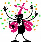Cool bug celebrating and partying