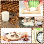 Collage of making cookies