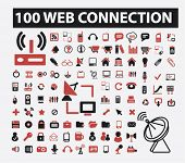 100 web connection icons set, vector