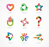 foto of biotech  - Collection of abstract colorful business icons and elements - JPG