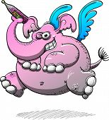 Intimidating winged elephant with pink skin