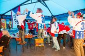 Minsk, Belarus - May 11 - Czech Fans In Cafe At Chizhovka Arena On May 11, 2014 In Belarus. Ice Hock