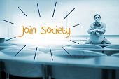 The word join society against lecturer sitting in lecture hall