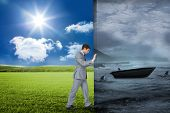 Composite image of businessman pushing away scene of sail boat being circled by sharks