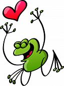 Happy green frog in love