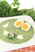 Green Herbs Soup With Eggs And A Dollop Of Cream