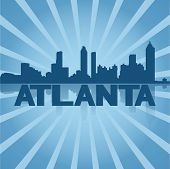 Atlanta skyline reflected with blue sunburst vector illustration