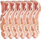 pic of bacon strips  - A vector and isolated image of bacon strips - JPG