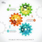 Infographic design template with gear, puzzles and icons, Modern design background. Business concept