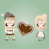 bavarian admirer gives a gingerbread heart to his girl
