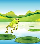 Illustration of a pond with a frog jumping