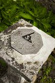picture of sundial  - A stone sundial in Dunster Park, Devon, England