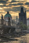 Sunrise On The Charles Bridge (prague)