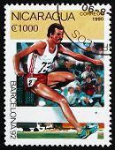 Postage Stamp Nicaragua 1990 Steeplechase, Barcelona 1992