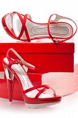 stock photo of shoe-box  - pair of female red open - JPG