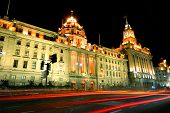 Motion blur of traffic on the historic Bund, Shanghai.
