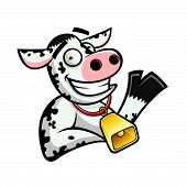 stock photo of moo-cow  - funny cartoon cow was relaxed and friendly smile waved his hand - JPG