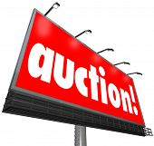Auction word billboard sign bid buy home estate sale