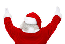 image of santa claus hat  - Back of excited Santa Claus isolated over a white background - JPG