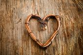 Close up of heart made from willow