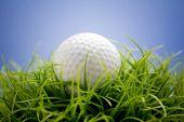 Golf ball on green grass, selective focus