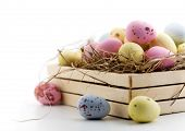 Chocolate easter eggs in little wooden box