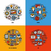 Flat Line Icons Set Of Seo, Smm, Ui And Ux Design, Hr. Creative Design Elements For Websites, Mobile