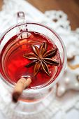 Close up of mulled wine glass with star anise