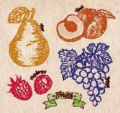 Fruit Pear, Peach, Raspberry, Grape Country