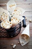 Pop corn in paper cones made from music sheets
