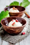 Homemade ice cream with rhubarb and vanilla
