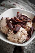 Close up of homemade chocolate ice cream