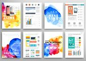 foto of web template  - Set of Vector Poster Templates with Watercolor Paint Splash - JPG