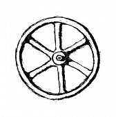Isolated Wheel or Valve, vector sketch illustration