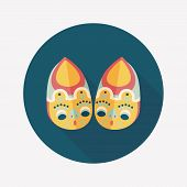 Embroidered Shoes Flat Icon With Long Shadow,eps10