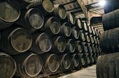 image of wine cellar  - Old cellar with barrels for wine or whiskey - JPG