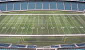 stock photo of football field  - Aerial view of a football field - JPG