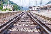 picture of train track  - Train tracks at the train depot - JPG