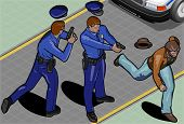 Isometric Policeman And Robber