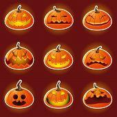 Halloween Pumpkin Character Emoticon Icons