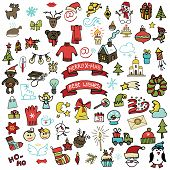 Christmas,new year icons set. Colored Doodle sketchy