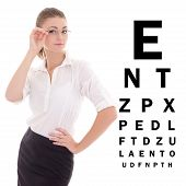 Beautiful Business Woman In Glasses And Eye Test Chart Isolated On White